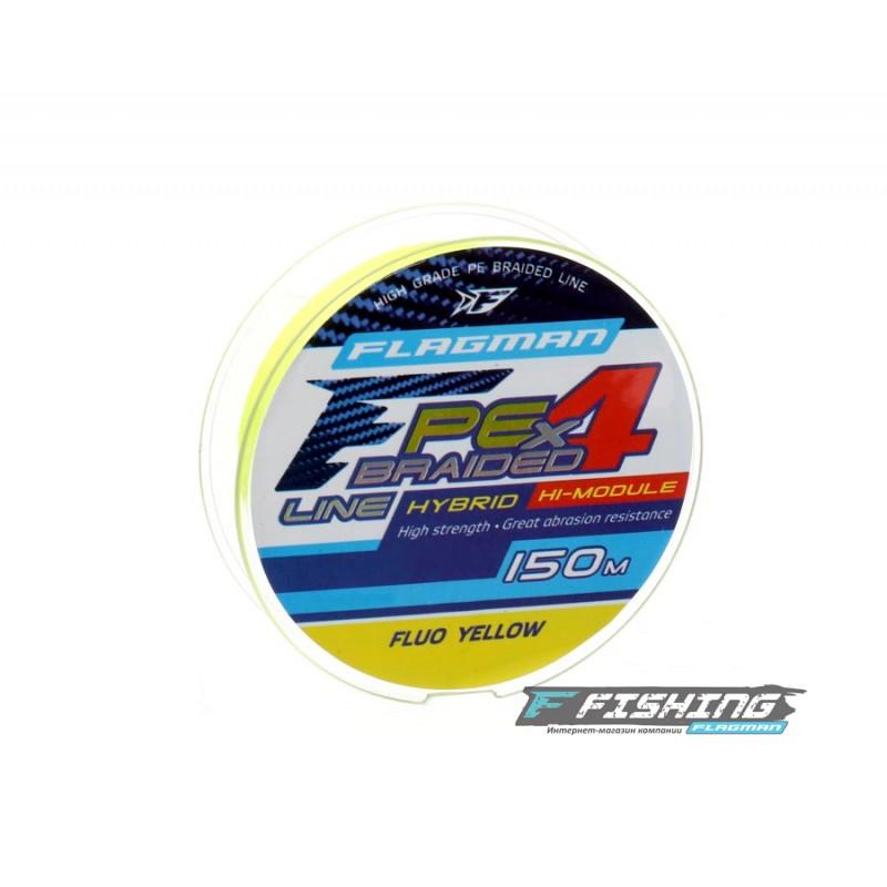 FLAGMAN Шнур PE Hybrid F4 150м Fluo Yellow 0,23мм 11,4кг 25lb